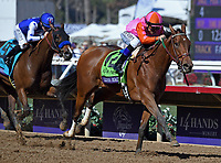 DEL MAR, CA - NOVEMBER 04: Caledonia Road #12, ridden by Mike Smith is ahead down the stretch during the 14 Hands Winery Breeders' Cup race on Day 2 of the 2017 Breeders' Cup World Championships at Del Mar Racing Club on November 4, 2017 in Del Mar, California. (Photo by Bob Mayberger/Eclipse Sportswire/Breeders Cup)