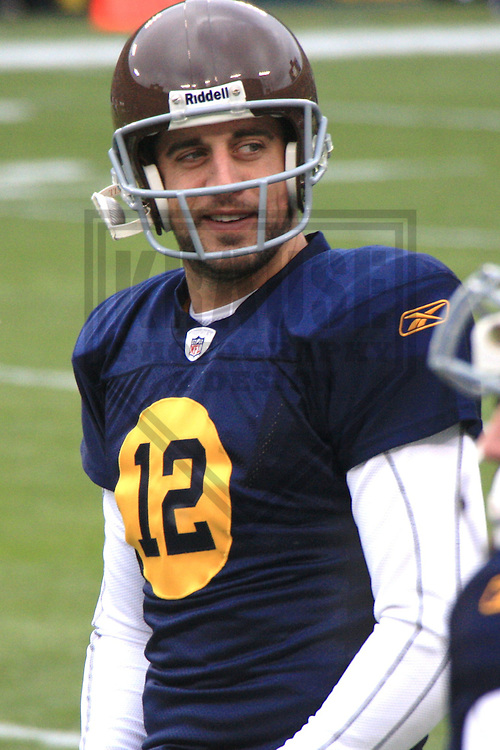 GREEN BAY - DECEMBER 2010: Aaron Rodgers (12) of the Green Bay Packers during a game on December 5, 2010 at Lambeau Field in Green Bay, Wisconsin. (Photo by Brad Krause)