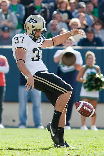 Purdue kicker-punter Carson Wiggs (#37) in game action during NCAA football game between the Notre Dame Fighting Irish and the Purdue Boilermakers.  Notre Dame defeated Purdue 23-12 in game at Notre Dame Stadium in South Bend, Indiana.