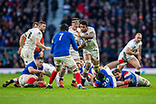 10th February 2019, Twickenham Stadium, London, England; Guinness Six Nations Rugby, England versus France; Courtney Lawes of England hands off the Arthur Iturria of France