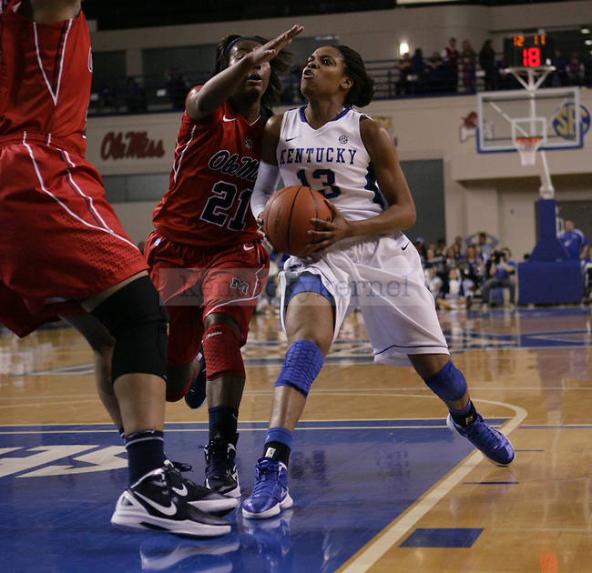Freshman guard Bria Goss looks to the basket during the first half of UK Hoops vs. Ole Miss at Memorial Coliseum in Lexington, Ky., on Thursday, Feb. 2, 2012. Photo by Tessa Lighty | Staff