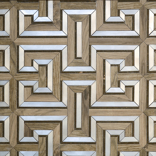 Theseus, a handmade mosaic shown in ceramic Ironwood, brushed Aluminum and honed Montevideo. Designed by Sara Baldwin for New Ravenna.<br /> <br /> For pricing samples and design help, click here: http://www.newravenna.com/showrooms/
