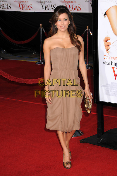 "EVA LONGORIA.""What Happens in Vegas"" Los Angeles Premiere at Mann's Village Theatre, Westwood, California, USA..May 1st, 2008.full length brown beige dress gold clutch bag shoes strapless .CAP/ADM/BP.©Byron Purvis/AdMedia/Capital Pictures."