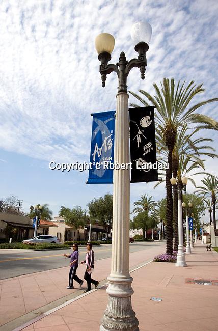 Asian American women crossing the street in San Gabriel, California