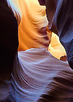 Shapes and forms in the Antelope slot canyon of Arizona are formed by sandstone erosion