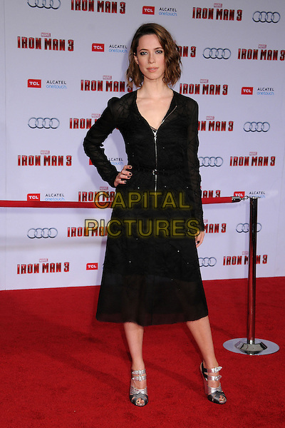 "Rebecca Hall.""Iron Man 3"" World Premiere held at the El Capitan Theatre, Hollywood, California, USA..April 24th, 2013.full  length black dress hand on hip sheer zip zipper silver sandals shoes .CAP/ADM/BP.©Byron Purvis/AdMedia/Capital Pictures"