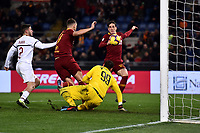 Nicolo Zaniolo of AS Roma scores goal of 1-1 during the Serie A 2018/2019 football match between AS Roma and AC Milan at stadio Olimpico, Roma, February 3, 2019 <br />  Foto Andrea Staccioli / Insidefoto