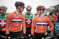 2 friendly dutchies at the start: Mathieu Van der Poel (NLD/BKCP-Corendon) &amp; Lars Van der Haar (NLD/Giant-Alpecin)<br /> <br /> Men's Elite Race<br /> <br /> UCI 2016 cyclocross World Championships,<br /> Zolder, Belgium