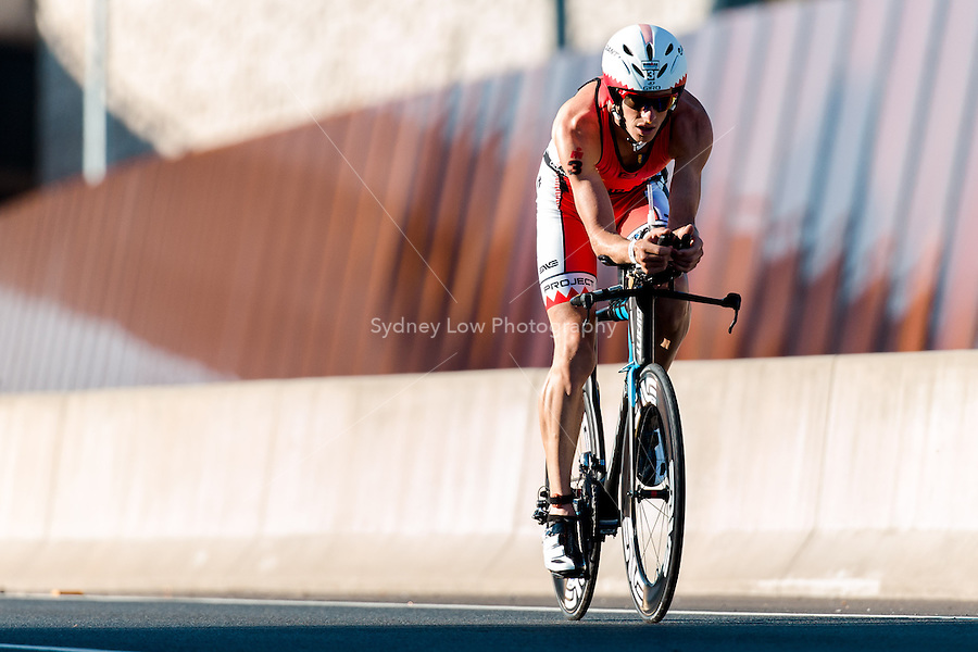 MELBOURNE, March 21, 2015 - Luke BELL (AUS) #3 on the bike leg of the 2015 IRONMAN Asia-Pacific Championship in Melbourne, Australia on Sunday March 21, 2015. (Photo Sydney Low / sydlow.com)