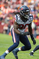 Landover, MD - November 18, 2018: Houston Texans outside linebacker Jadeveon Clowney (90) in action during the  game between Houston Texans and Washington Redskins at FedEx Field in Landover, MD.   (Photo by Elliott Brown/Media Images International)