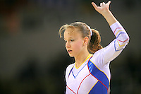 Oct 16, 2006; Aarhus, Denmark; Portrait is of Sandra Izbasa of Romania during women's gymnastics team competition at 2006 World Championships Artistic Gymnastics. Photo by Tom Theobald