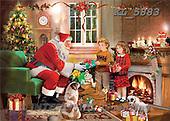 Interlitho, Patricia, CHRISTMAS NOSTALGIC, paintings, santa, 2 kids, fireplace, KL5883,#x nostalg Weihnachten, nostalgisch, Navidad, nostálgico, illustrations, pinturas