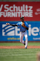 Erie SeaWolves shortstop Sergio Alcantara (1) throws to first base during an Eastern League game against the Akron RubberDucks on June 2, 2019 at UPMC Park in Erie, Pennsylvania.  Erie defeated Akron 8-5 in eleven innings in the second game of a doubleheader.  (Mike Janes/Four Seam Images)