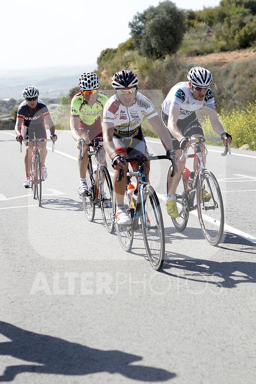 Etapa en linea ruta vuelta a Madrid 2011 201 Daniel Aponte ADC Francisco Pizarro, 28 Roberto Iglesias Bobruc Oil, 17 Javier San Emeterio AC Marriot, 3 Carlos del Valle Ciclos Corredor. (ALTERPHOTOS/Alvaro Hernandez)