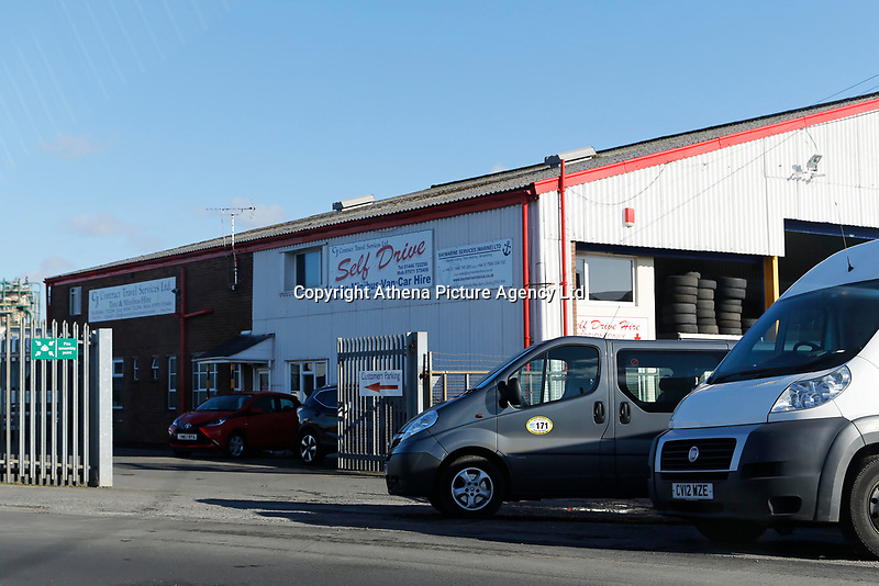 Pictured: The depot of CJ Contract Travel Services in Barry Docks, Wales, UK. Friday 02 February 2018<br /> Re: 12 year old Alex Jones, who has Down's Syndrome, was not dropped off home by bus company CJ Contract Travel Services but instead was discovered at the company's depot in Barry, south Wales, on his way back from Ysgol Y Deri School in nearby Penarth.