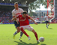 Nottingham Forest's Carl Jenkinson shields the ball from Preston North End's Patrick Bauer<br /> <br /> Photographer David Shipman/CameraSport<br /> <br /> The EFL Sky Bet Championship - Nottingham Forest v Preston North End - Saturday 31st August 2019 - The City Ground - Nottingham<br /> <br /> World Copyright © 2019 CameraSport. All rights reserved. 43 Linden Ave. Countesthorpe. Leicester. England. LE8 5PG - Tel: +44 (0) 116 277 4147 - admin@camerasport.com - www.camerasport.com