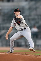 Starting pitcher Cole Winn (24) of the Hickory Crawdads delivers a pitch in a game against the Columbia Fireflies on Wednesday, August 28, 2019, at Segra Park in Columbia, South Carolina. Hickory won, 7-0. (Tom Priddy/Four Seam Images)