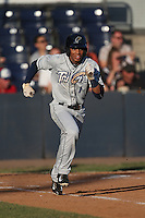 Rod Boykin (1) of the Tri-City Dust Devils runs to first base during a game against the Vancouver Canadians at Nat Bailey Stadium on July 23, 2015 in Vancouver, British Columbia. Tri-City defeated Vancouver, 6-4. (Larry Goren/Four Seam Images)
