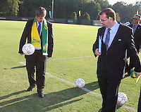 Harold Mayne-Nicholls juggles the ball during the visit of the FIFA World Cup 2018-2022 inspection delegation to George Mason University soccer practice facility.