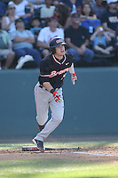 Caleb Hamilton (14) of the Oregon State Beavers bats during a game against the UCLA Bruins at Jackie Robinson Stadium on April 4, 2015 in Los Angeles, California. UCLA defeated Oregon State, 10-5. (Larry Goren/Four Seam Images)