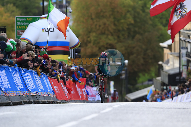 Ben Healy (IRL) climbs Parliment Street on the Harrogate circuit during the Men U23 Road Race of the UCI World Championships 2019 running 186.9km from Doncaster to Harrogate, England. 27th September 2019.<br /> Picture: Eoin Clarke | Cyclefile<br /> <br /> All photos usage must carry mandatory copyright credit (© Cyclefile | Eoin Clarke)