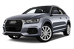Stock pictures of low aggressive front three quarter view of a 2018 Audi Q3 Premium 5 Door SUV
