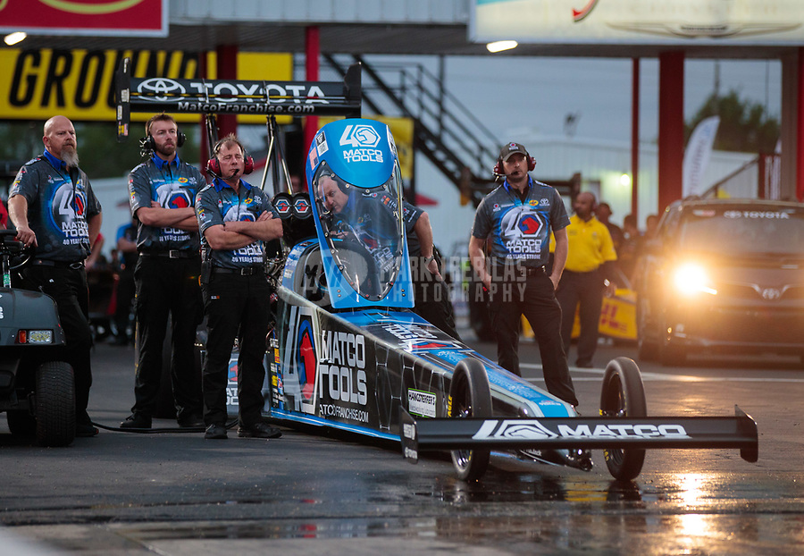 Apr 12, 2019; Baytown, TX, USA; Crew members for NHRA top fuel driver Antron Brown during qualifying for the Springnationals at Houston Raceway Park. Mandatory Credit: Mark J. Rebilas-USA TODAY Sports