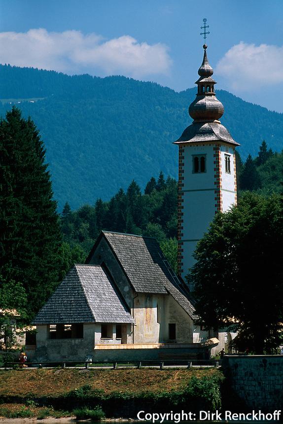 Slowenien, Ribcev Laz am Bohin-See, Johanneskirche.