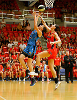 29th December 2019; Bendat Basketball Centre, Perth, Western Australia, Australia; Womens National Basketball League Australia, Perth Lynx versus Canberra Capitals; Marianna Tolo of the Canberra Capitals lays up at the basket against Maddie Allen of the Perth Lynx - Editorial Use