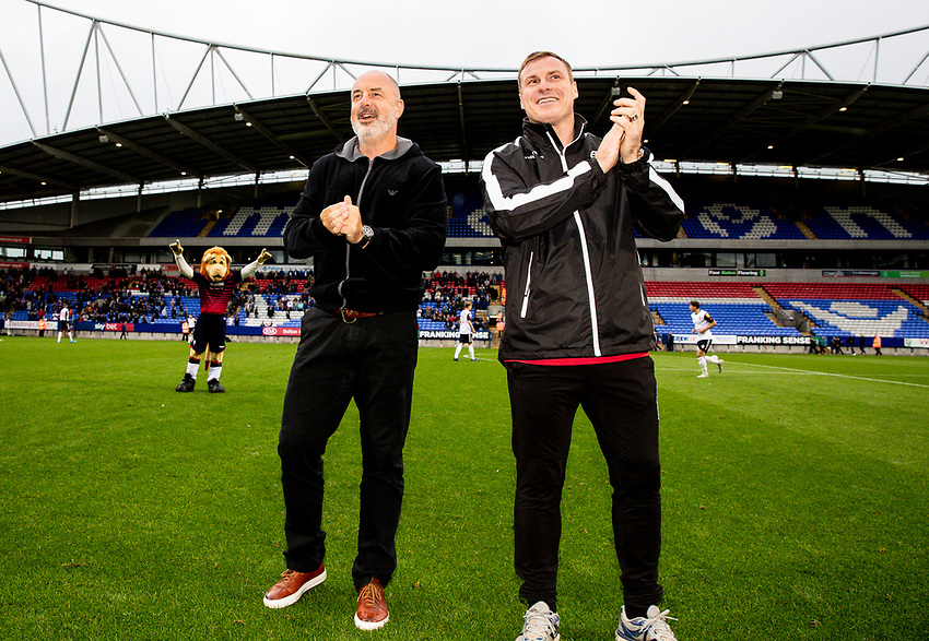 Bolton Wanderers' manager Keith Hill with assistant manager David Flitcroft (right) before the match<br /> <br /> Photographer Andrew Kearns/CameraSport<br /> <br /> EFL Leasing.com Trophy - Northern Section - Group F - Bolton Wanderers v Bradford City -  Tuesday 3rd September 2019 - University of Bolton Stadium - Bolton<br />  <br /> World Copyright © 2018 CameraSport. All rights reserved. 43 Linden Ave. Countesthorpe. Leicester. England. LE8 5PG - Tel: +44 (0) 116 277 4147 - admin@camerasport.com - www.camerasport.com