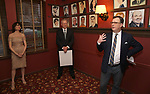 Beth Leavel, Max Klimavicius and Brooks Ashmanskas during the Beth Leavel Portrait unveiling at Sardi's on 3/26/2019 in New York City.