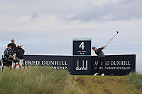 Matt Wallace (ENG) on the 4th tee during Round 2 of the Alfred Dunhill Links Championship 2019 at Kingbarns Golf CLub, Fife, Scotland. 27/09/2019.<br /> Picture Thos Caffrey / Golffile.ie<br /> <br /> All photo usage must carry mandatory copyright credit (© Golffile | Thos Caffrey)