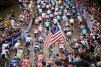Peloton up Libby Hill<br /> <br /> Elite Men Road Race<br /> UCI Road World Championships Richmond 2015 / USA