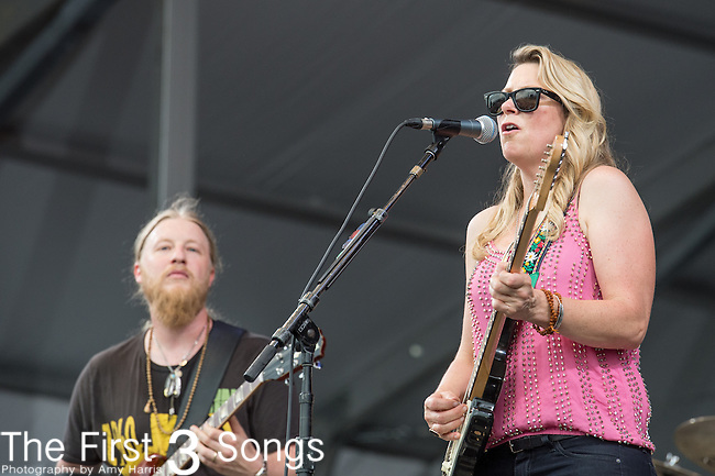 Susan Tedeschi and Derek Trucks of Tedeschi Trucks Band performs during the 2015 New Orleans Jazz & Heritage Festival in New Orleans, Louisiana.