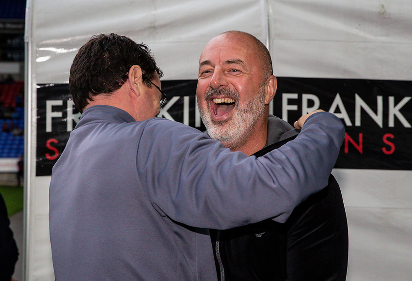 Bolton Wanderers' manager Keith Hill (right) greets Bradford City's manager Gary Bowyer <br /> <br /> Photographer Andrew Kearns/CameraSport<br /> <br /> EFL Leasing.com Trophy - Northern Section - Group F - Bolton Wanderers v Bradford City -  Tuesday 3rd September 2019 - University of Bolton Stadium - Bolton<br />  <br /> World Copyright © 2018 CameraSport. All rights reserved. 43 Linden Ave. Countesthorpe. Leicester. England. LE8 5PG - Tel: +44 (0) 116 277 4147 - admin@camerasport.com - www.camerasport.com