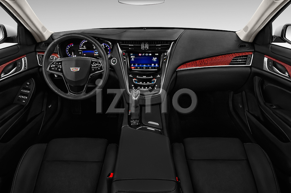 Stock photo of straight dashboard view of 2016 Cadillac CTS Luxury Collection 4 Door sedan Dashboard