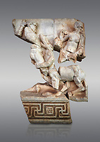 Roman Sebasteion relief  sculpture of Herakles or Hercules, Nessos and Deianira Aphrodisias Museum, Aphrodisias, Turkey. <br /> <br /> The centaur Nessos agreed to carry Herakles' (Hercules) wife Deianira across the river Euenos in Aitolia but tried to rape her in mid-stream. I the struggle that followed we see Herakles about to deliver a crushing blow with his club. Nessos has been beaten to her knees but is still fighting. Behind the centaur is the partly disrobed figure of Deianira