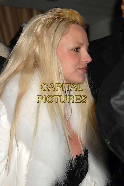 "BRITNEY SPEARS.""Scandinavian Style Mansion"" Party at a Private Residence in Bel Air, Los Angeles, California, USA, .1 December 2007..half length white fur coat profile blonde hair extensions.CAP/ADM/BP.©Byron Purvis/AdMedia/Capital Pictures."