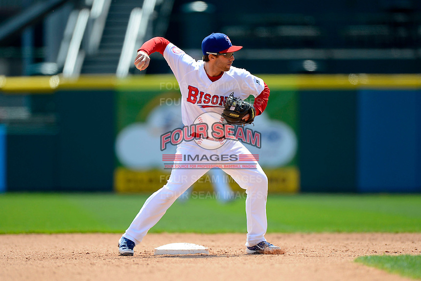Buffalo Bisons second baseman Jim Negrych #5 attempts to turn a double play during the first game of a doubleheader against the Pawtucket Red Sox on April 25, 2013 at Coca-Cola Field in Buffalo, New York.  Pawtucket defeated Buffalo 8-3.  (Mike Janes/Four Seam Images)