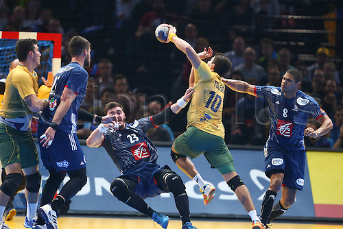 11.01.2017. Accor Arena, Paris, France. 25th World Handball Championships France versus Brazil. Ludovic Fabregas (France) and Daniel Narcisse (France) block the shot from Jose Guilherme De Toledo (bra)