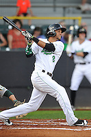 Clinton LumberKings Luis Liberato (2) swings during the Midwest League game against the Beloit Snappers at Ashford University Field on June 11, 2016 in Clinton, Iowa.  The LumberKings won 7-6.  (Dennis Hubbard/Four Seam Images)