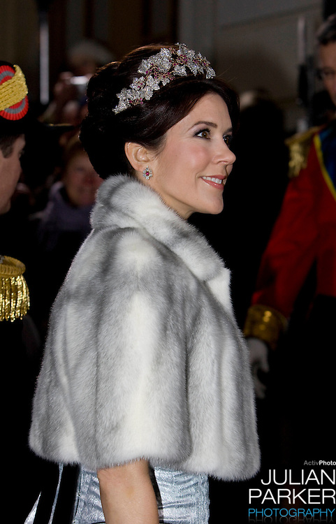 Crown Princess Mary of Denmark attends the Traditional New Year Gala Dinner, at Amalienborg Palace in Copenhagen Denmark
