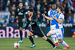 Isco Alarcon (L) of Real Madrid fights for the ball with Darko Brasanac of CD Leganes during the Copa del Rey 2017-18 match between CD Leganes and Real Madrid at Estadio Municipal Butarque on 18 January 2018 in Leganes, Spain. Photo by Diego Gonzalez / Power Sport Images