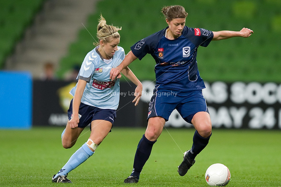 MELBOURNE, AUSTRALIA - MAY 14, 2010: The first soccer match played at AAMI Park in Melbourne between Melbourne Victory and Sydney FC women's teams. Sydney FC won 3-1. Photo Sydney Low www.syd-low.com