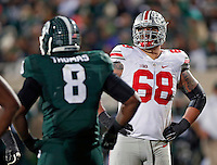 Ohio State Buckeyes offensive lineman Taylor Decker (68) against Michigan State Spartans at Spartan Stadium in East Lansing, Michigan on November 8, 2014.  (Dispatch photo by Kyle Robertson)