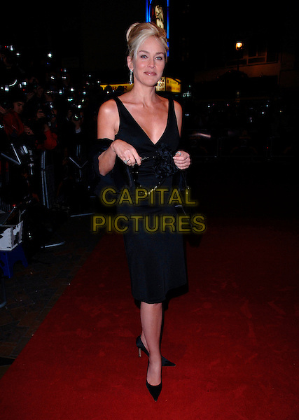 "SHARON STONE.""Basic Instinct 2: Risk Addiction"" world film premiere at.vue cinema, Leicester Sqaure, London England, .March 15th, 2006.Ref: FIN.full length black dress blue fur.www.capitalpictures.com.sales@capitalpictures.com.©Steve Finn/Capital Pictures"