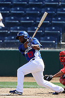 Jonathan Garcia #13 of the Rancho Cucamonga Quakes bats against the Inland Empire 66'ers at The Epicenter on April 8, 2012 in Rancho Cucamonga,California. Inland Empire defeated Rancho Cucamonga 7-1.(Larry Goren/Four Seam Images)