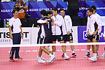 Japan  team group (JPN),<br /> AUGUST 23, 2018 - Sepak takroae : <br /> Men's Doubles Preliminary match between Indonesia - Japan <br /> at Jakabaring Sport Center Ranau Hall <br /> during the 2018 Jakarta Palembang Asian Games <br /> in Palembang, Indonesia. <br /> (Photo by Yohei Osada/AFLO SPORT)