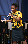 Gugwana Dlamini performing at United presents 'Stars in the Alley' in  Shubert Alley on May 27, 2015 in New York City.