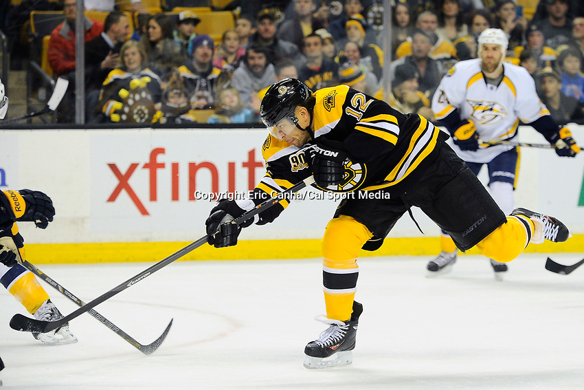 January 2, 2014 - Boston, Massachusetts, U.S. - Boston Bruins right wing Jarome Iginla (12) shoots during the NHL game between the Nashville Predators and the Boston Bruins held at TD Garden in Boston Massachusetts.  Eric Canha/CSM